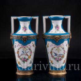 """Две вазы """"Райские птицы"""", Франция, 19 в"""