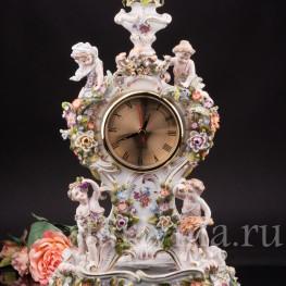 Антикварные фарфоровые часы Времена Года, Sitzendorf, Германия, 19 век.