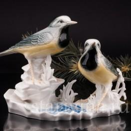 Фигурка птиц из фарфора Трясогузки, Karl Ens, Германия, 1920-30 гг.